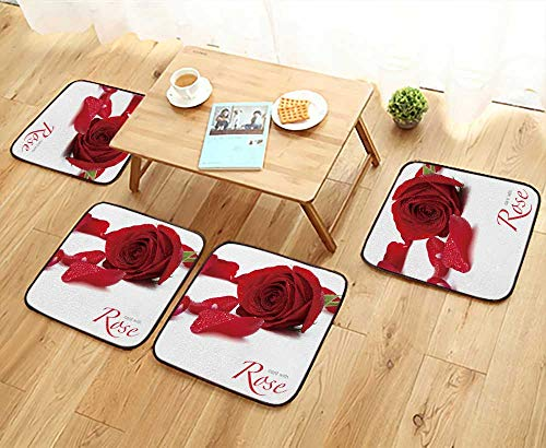 Personalized Silk Rose Petals - UHOO2018 Universal Chair Cushions Rose and Petals Personalized Durable W15.5 x L15.5/4PCS Set