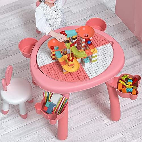 Tafelset voor meerdere activiteiten, dubbelzijdig bureaublad Gecombineerde tafel voor kinderen Stoelenset/Tafelset voor bouwstenen met 360 ° roterende opbergdoos