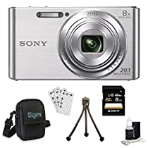 Sony DSCW830 DSCW830 W830 DSC-W830 DSC-W830 DSC-W830 20.1 Digital Camera with 2.7-Inch LCD (Silver) Bundle with 8GB Card, Deluxe Carrying Case, Mini Tripod, Lens Cleaning Kit, Screen Protectors for LCD's and Micro Fiber Cloth