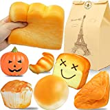 Beestech Jumbo Bread Squishy, 9 Pcs Huge Giant Bread Squishies Pack, Cream Scented Slow Rising Squishy Toys for Kids, Boys and Girls, Including Toast Loaf Bread Squishy, Realistic Squishy Food