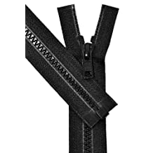 "Vislon Zipper, YKK #5 Molded Plastic Separating Bottom 14"" to 36\"" - Medium Weight (Select Length and Color) (Black, Length 27 inches)"