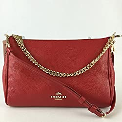Coach Carrie Crossbody in Pebble Red Leather F36666