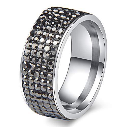 BVJEFGSD 5 Rows Crystal Stainless Steel Ring Women for Elegant Full Finger Love Wedding Engagement Rings Jewelry Men Hematite 10