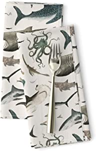 Roostery Sharks and Sea Creatures On White Luxe Cotton Sateen Dinner Napkins Shark Octopus Fish Ocean Great Whale Life Gray by Katherine Quinn Set of 2 Dinner Napkins