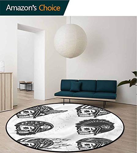 RUGSMAT Manly Modern Machine Round Bath Mat,Greyscale Sketch Skulls Study Super Soft Carpet Diameter-47