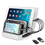 Coffeesoft 8-Port Charge Station - Multiport USB Charging Dock for Any Smartphone or Tablet – 50 W Desktop Charging Stand Organizer for Multiple Devices Home & Trips