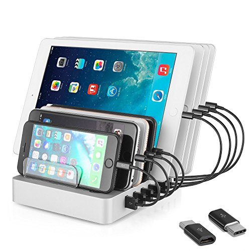 Coffeesoft 8-Port Charge Station - Multiport USB Charging Dock for Any Smartphone or Tablet – 50 W Desktop Charging Stand Organizer for Multiple Devices Home & Trips by Coffeesoft