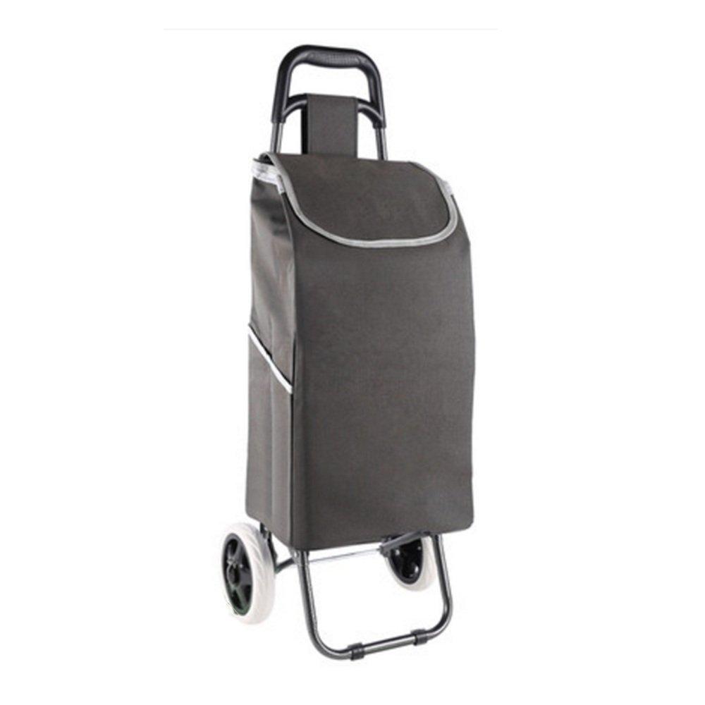 ZR-ショッピングカート 軽量のショッピングトロリー折りたたみ式2輪大容量ショッパー(ブルー、ブルゴーニュ、グレー、グリーン)-93 * 25 * 19cm -ショッピングと持ち運び (色 : Gray) B07FLWK4FN Gray Gray
