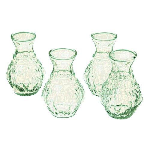 Luna Bazaar Light Green Glass Vase (4-Inch, Bernadette Mini Ribbed Design, Set of 4) - Decorative Flower Vase - for Home Decor and Wedding Centerpieces