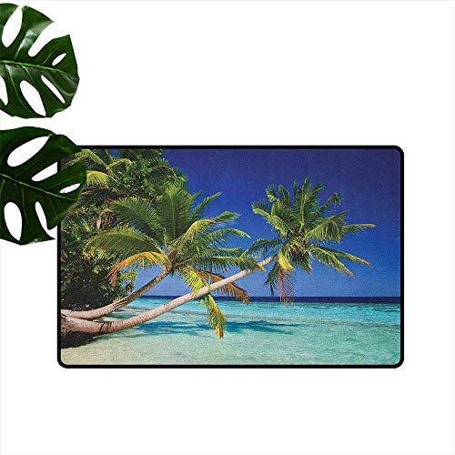 (Ocean Household Bathroom Door mat Maldives Bay Paradise Resort Summer in Pacific Holiday Destinations Environmental Protection W29 x L39 Navy Blue Turquoise Green)