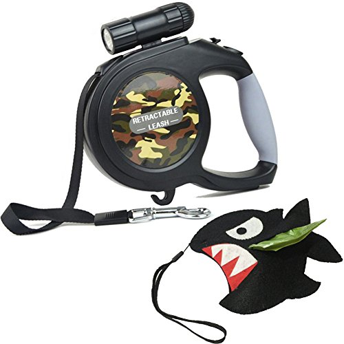 Retractable Dog Leash 16ft with Bright LED Detachable Flashlight Nylon Heavy Duty Adjustable Walking Leash Suit for Small, Medium and Large Dog Handmade Dispenser and 1 Roll Poop Bags for Free (Leash Flashlight Retractable Dog)