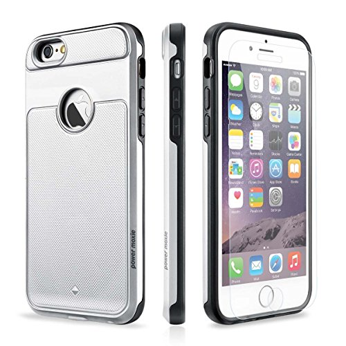 iPhone SE Case, iPhone 5s Case PowerMoxie with [Tempered Glass Screen Protector] Heavy Duty Dual Layer Slim Fit Protection Cover for iPhone SE/5/5s (Silver)