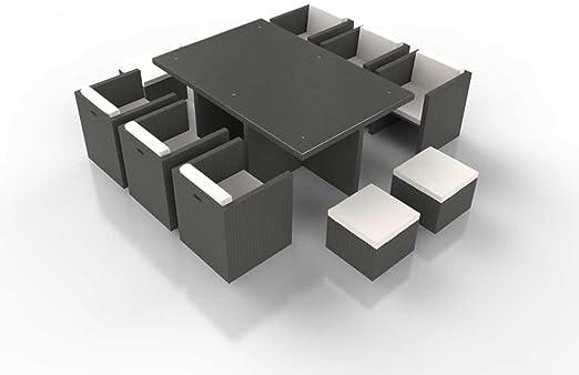 Ensemble table et chaises cubique résine tressée BOREAS gris ...