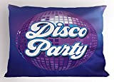 Ambesonne 70s Party Decorations Pillow Sham, Retro Lettering on Disco Ball Night Club Theme Dance and Music, Decorative Standard Queen Size Printed Pillowcase, 30 X 20 inches, Purple Blue White