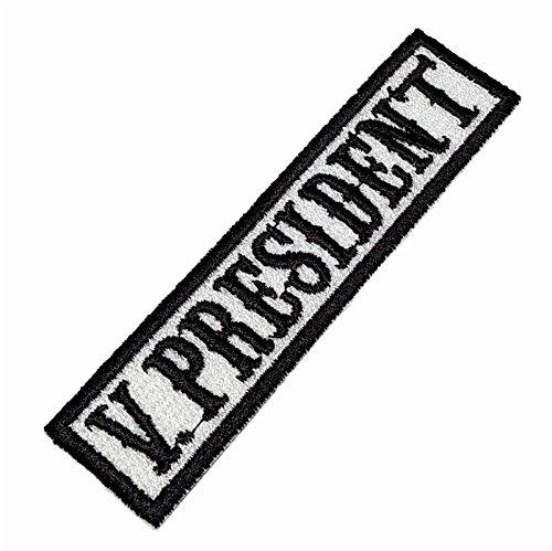 NT0504 Vice President Biker Front of Vest Jacket Title 100% Embroidered Patch Iron or (Biker Vest Jacket)
