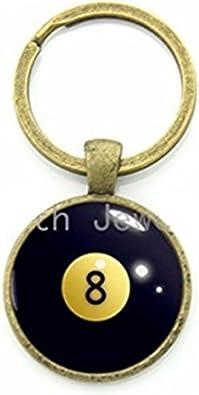 Número 8 bolas de billar Llavero Negro 8 Ball billar patrón ...