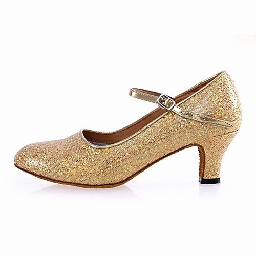 T.T-Q Zapatos de Baile para Mujer Modern Paillette Cuban Heel Gold Oro