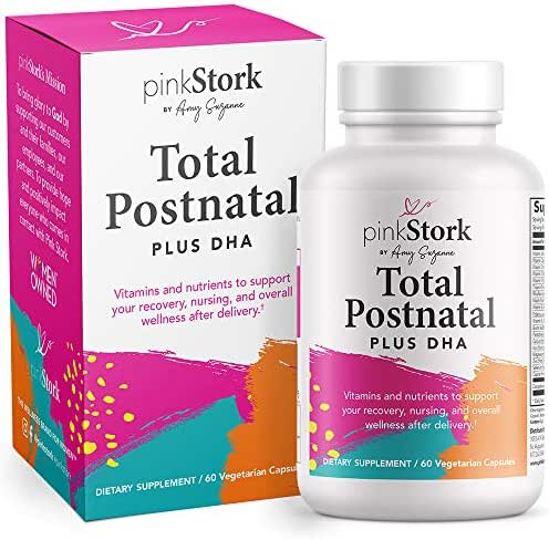 Pink Stork Total Postnatal + DHA, Support for Postpartum, Nutrients for Mom + Baby, Prenatal Vitamins, Women-Owned, 60 Vegetarian Capsules