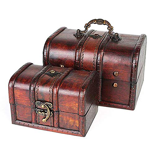 2 Decorative Treasure Boxes for Girls Women, Sealive Brown Vintage Suitcase Boxes Wooden Jewelry Trunks Chests Lock Storage Case Kids Toys Set ()