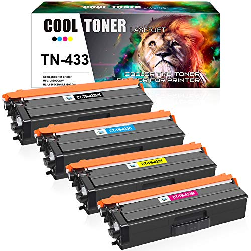 Cool Toner Compatible Toner Cartridge Replacement for Brother TN433 TN-433 TN431 Brother HL-L8360Cdw MFC-L8900Cdw HL-L8260Cdw MFC-L8610Cdw HL-L8360Cdwt Printer Ink (Black Cyan Magenta Yellow, 4 Pack)