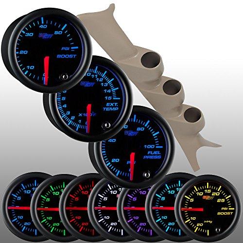 (GlowShift Diesel Gauge Package for 1999-2003 Ford Super Duty F-250 F-350 7.3L Power Stroke - Black 7 Color 60 PSI Boost, 1500 F Pyrometer EGT & 100 PSI Fuel Pressure)