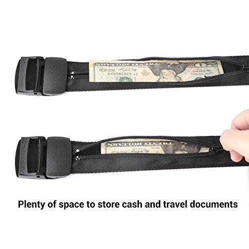 Travel Security Money Belt with Hidden Money Pocket - Cashsafe Anti-Theft Wallet Unisex Nickel free Nylon Belt by JASGOOD (Style 1-1.5'' width-Money belt, 1 Black-fit pant size 41-50'') by JASGOOD (Image #2)