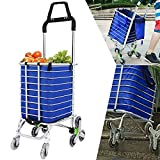 Utheing Folding Aluminum Stair Climbing Shopping Cart with Swivel Wheel Bearings and Waterproof Oxford Cloth Bag, Capacity of 177 pounds (Type2)