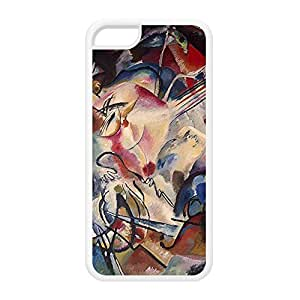 Composition VI by Kandinsky White Silicon Rubber Case for iPhone 5C by Painting Masterpieces + FREE Crystal Clear Screen Protector