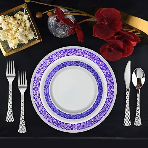 Set of 32 Disposable Dinner Plates Bundle Combo | Premium Quality Firm White Plastic | Elegant Silver on Blue Designed Rims | Bulk Qty 16x 10.25'' Dinner Plates + 16x 7.25'' Salad Plates