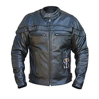 Bikers Gear UK BGA Chaqueta de cuero envejecido modelo Sturgis para Hombre con reforzado certificado CE color Negro Cuero alta calidad TALLA 7XL