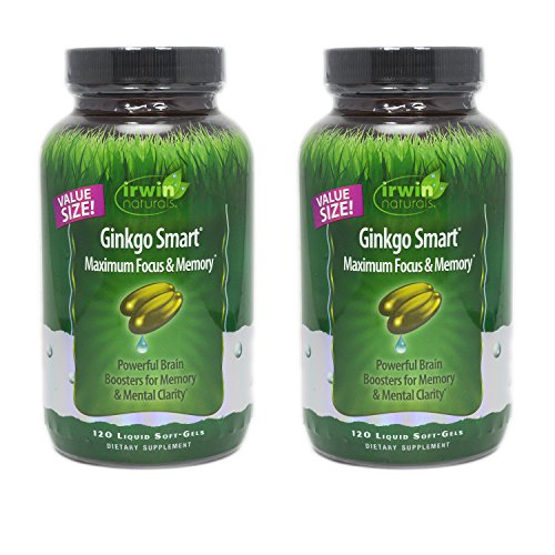 Irwin Naturals Ginkgo Smart Maximum Focus & Memory, Powerful Brain Booster for Memory & Mental Clarity - Value Size, 120 Liquid Soft-Gels by Irwin Naturals