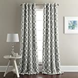 Chezmoi Collection 1 Panel Geo Hexagon Grommet Top Thermal Insulated Blackout Window Curtain (52″ W x 96″ L, Gray) Review