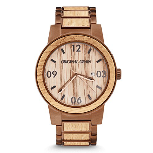 Original Grain Wood Wrist Watch | Barrel Collection 47MM Analog Watch | Wood And Stainless Steel Watch Band | Japanese Quartz Movement | Whiskey Barrel Wood by Original Grain