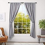 AmazonBasics 1-Inch Cap Finial Curtain Rod with Curtain Holdbacks - 36 to 72 Inch, Black