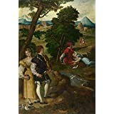 high quality polyster Canvas ,the Best Price Art Decorative Canvas Prints of oil painting 'Bernardino da Asola The Garden of Love ', 20 x 30 inch / 51 x 75 cm is best for Bathroom decor and Home decoration and Gifts