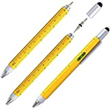 Screwdriver Pen 6 in 1 Combo Pen with Ruler, Levelgauge, Ballpoint Pen, Stylus and 2 Screw Driver, Multi-functional Tools for Mens Gift, Yellow