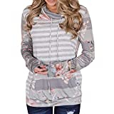 Gergeos Womens Pullover Sweatshirts Long Sleeve Striped Print Patchwork Blouse Casual Tops T-Shirts(Gray,L)