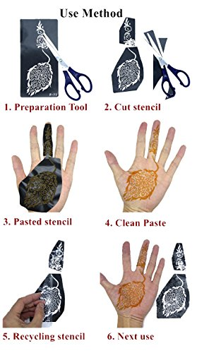 Jual Tattoo Stencil For Henna Tattoos 6 Sheets Self Adhesive Body