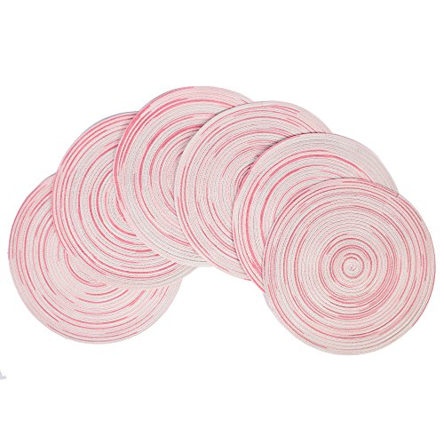 famibay Round Placemats, Woven Outdoor/Indoor Place Mats Braided and Colorful Dining Mats for Wedding Holiday Party 15 Inches Set of 6, Multi Pink