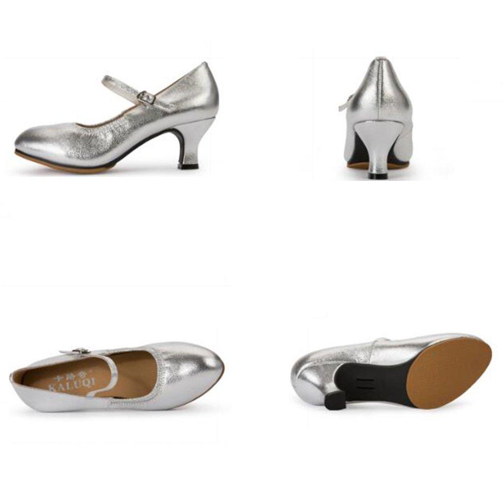 Jingsen Latin Neue Dance Schuhe Weibliche Sommer Neue Latin Art Leder Moderne Freundschaft mit Erwachsenen Outdoor Square Dance Schuhe (Farbe : Silber, Größe : 35) Silber 1c8308