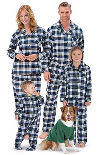 PajamaGram Tartan Plaid Button-Front Matching Family Pajamas, Green, Men XXL