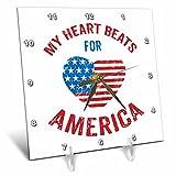 3dRose Andrea Haase Patriotic Art - Heart Beats For America Patriotic 4th July Art - 6x6 Desk Clock (dc_282600_1)