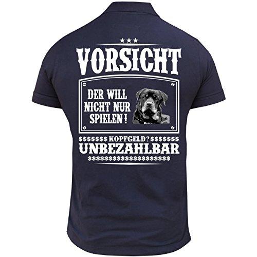 Männer und Herren Poloshirt Rottweiler mit Rückendruck