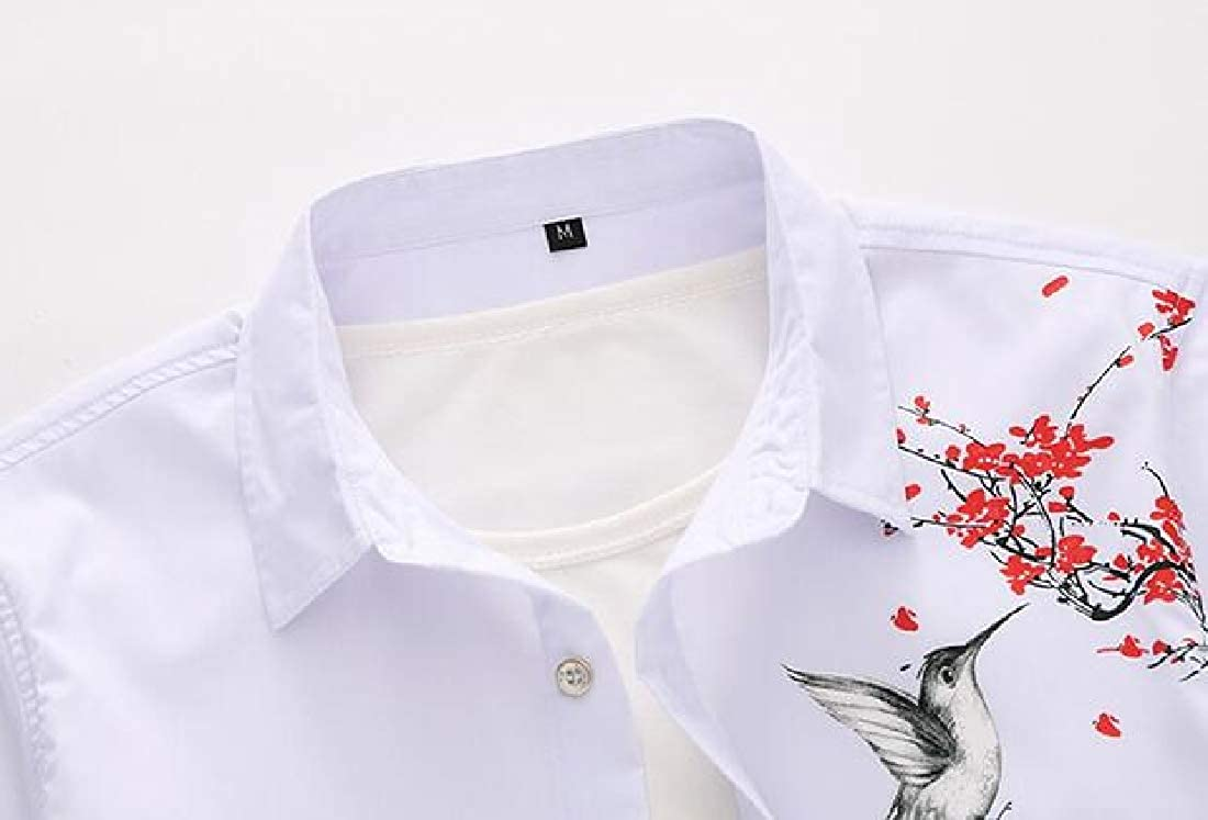 OTW Mens Printed Summer Slim Fit Chinese Style Short Sleeve Button Up Dress Shirt