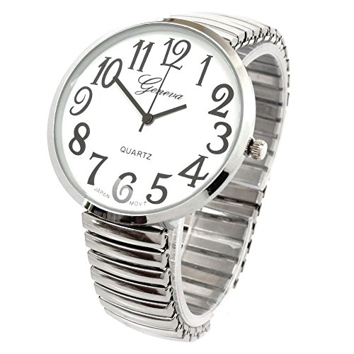 Silver Super Large Face Stretch Band Fashion Watch