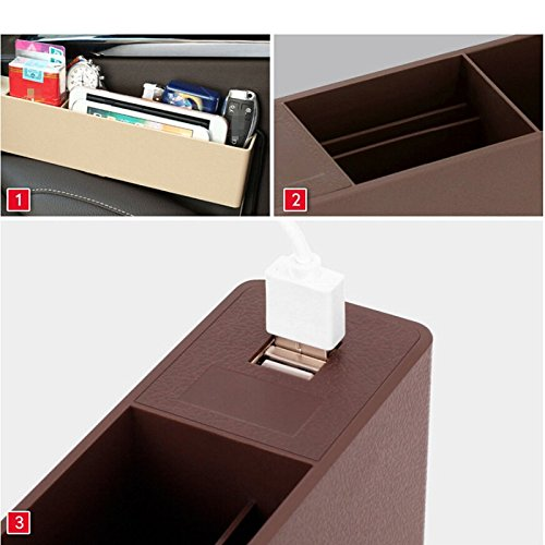 ABS Vehicle Storage Box Car Seat Side Pocket Gap Filler and Organizer in Between Front Seat and Console with 2 USB Interface Black Brian Waddill