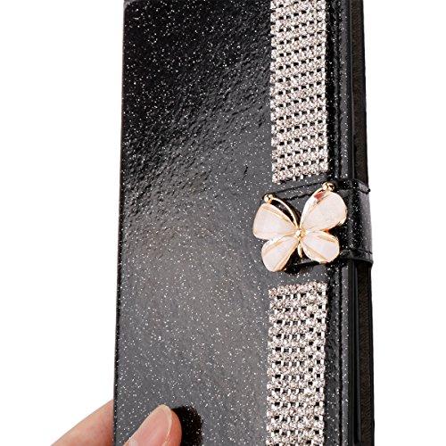 Para Samsung Galaxy S9 Resplandecer Bling Cadena de diamantes PU Funda de cuero, cubierta del soporte del tirón Cartera Titulares Magnética del cierre Ultra Thin Flip Funda protectora con ranura para  Negro