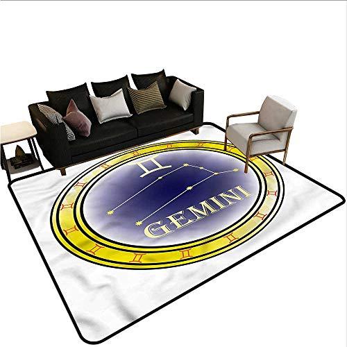 Zodiac Gemini,Anti-Slip Coffee Table Floor Mats 36
