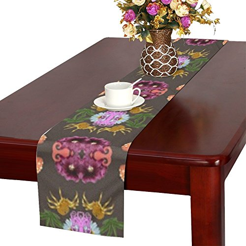 QYUESHANG Pattern Retro Design Seamless Halloween Floral Table Runner, Kitchen Dining Table Runner 16 X 72 Inch For Dinner Parties, Events, Decor