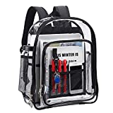 Heavy Duty Clear Backpack,Security Transparent Backpack,See Through Bookbag for Work, Security Check and Travel